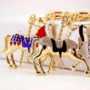 Accessori animali Horse Car portachiavi di cristallo del pavimentato goldtone I titolari dello smalto dell'anello chiave del pendente della lega del gocciolamento dell'olio Car
