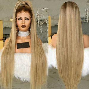 Shuowen gerade lange Perruques 28 Zoll Full Synthetic Blonde Remy Haar Perücke Simulation Menschliches Haar Soft-Perücken