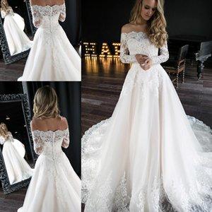 2020 aus der schulter brautkleider lange sleeve perlen spitze tüll hochzeit kleid bridal kleid a-line braut formal kleid