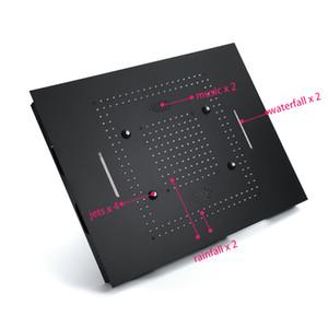 블랙 강우 폭포 마사지 LED 라이트있는 샤워기을 (304) 스테인레스 스틸 600 * 800mm 샤워 헤드 욕실 샤워 전기 전원 표시 등