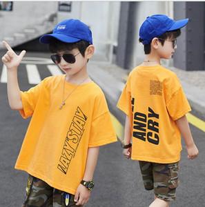 Boys' short sleeve T-shirt summer wear 2020 new medium and large children's boys' top Korean children's letter T-shirt