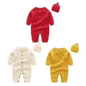 Pudcoco Winter Newborn Baby Boy Girl Clothes Solid Color Button Sweater Long Sleeve Romper Jumpsuit Hat 2Pcs Outfits Clothes