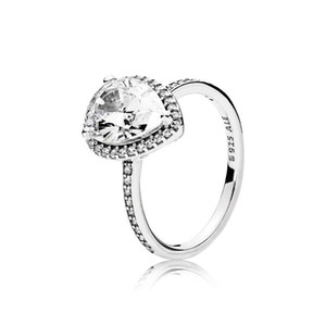NUEVA plata de ley 925 CZ Diamond Tear drop boda del sistema del anillo original de la caja de Pandora de agua Anillos de gota de joyería de las mujeres regalo de las muchachas