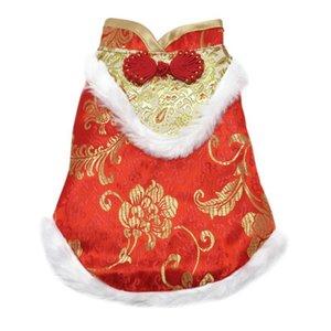 Style Chinois soie Tang costume de chien Costumes Fête du Printemps pour chiens doux vêtements chauds d'hiver manches Manteaux
