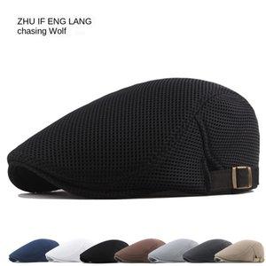 الجوف شبكة غطاء تنفس قبعة البيريه الأزياء الشمس الرجال قبعة بلون قبعة المرأة إلى الأمام