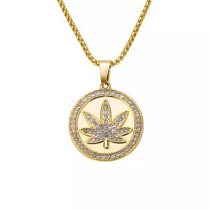 Neues Design Iced Out HipHop NecklacePendant Ahornblatt Anhänger Lange Goldkette Hip Hop Bling Halskette für Frauen Männer Mujer