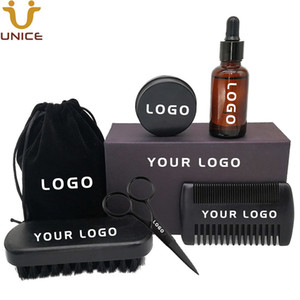 MOQ100pcs 7 em 1 OEM ODM LOGOTIPO Personalizado Amazon Hot Sale Kit de Barba Preta Barba Escova Pente Barba Óleo Bálsamo Tesoura Pacotes de Presente