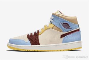 2021 Autêntico 1 Mid SE Fearless Air Maison Rouge Retro Vanilla Cinnamon Azul Amarelo 1S Homens Sapatos Ao Ar Livre com Box Cu2803-200