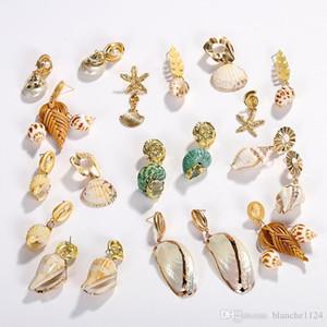 9 Styles Natural Shell Eardrop per le donne Eleganti orecchini a forma di conca ciondolo orecchino perla orecchini in oro placcato stelle marine all'ingrosso
