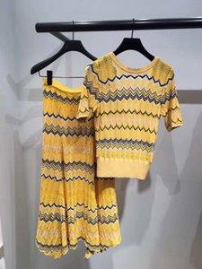 French Elegant Color Wave V Ice Silk Gao Waist Popular Temperament Knitting Long Money Half Body Skirt 91031