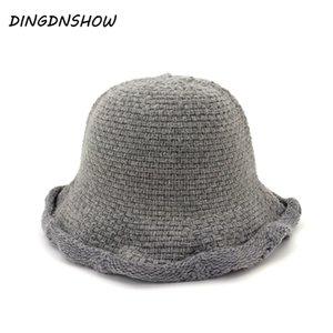 [DINGDNSHOW] 2019 Moda Bucket Hat Cotone Lady cappello Berretti inverno caldo Cap donne lavorato a maglia