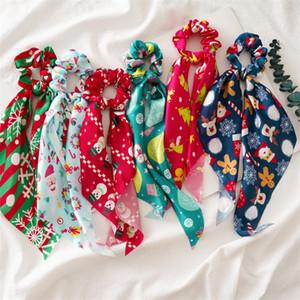 Дети Распечатать рождественские оголовье Хребец для волос для волос эластичная елочная елка Санта-полосы волос девушки рождественские волосы ленты галстуки аксессуары оптом kjy977