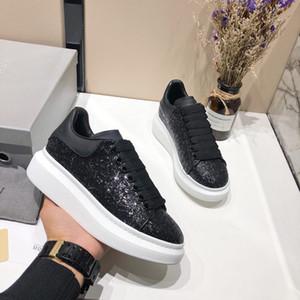 2019 Siyah Glitter Shinny Womens Chaussures Güzel Platformu Casual Ayakkabı Sneakers Ayakkabı Deri Katı Renkler Elbise
