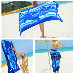 Großes Rechteck Breathable Durable Towels Microfiber Polyester Printed Strandtuch Adult Soft Absorbent Printed Badetuch BH1262 TQQ
