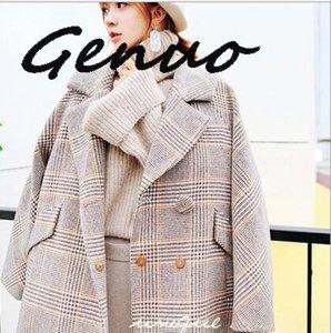 Genuo New 2020 Vintage-Chic Plaid Wolle lose Mantel-Frau Tailored Kragen-Kurzschluss Wollmantel beiläufige Winter-Oberbekleidung