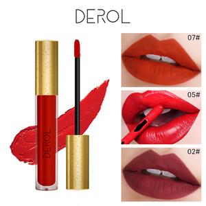 DEROL 16 Colors Waterproof Matte Liquid Lipstick long-lasting Red Black Lip gloss Makeup Stick Nude Beauty Lip Tint Cosmetics L3702
