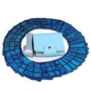 wholesale 35 Pcs Designs Nail Art Stamping Template 6*6cm Square Image Plate+1 Pcs Double Side Nail Stamper +1 Blue Case Kit