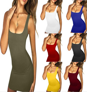Women Body Sheath Bodycon Dress Tank Dress Slim Skinny Candy Color Dresses