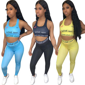 Women Tracksuit Summer 2 Piece Set Sleeveless T-Shirt+Pants Letter Sports Suit Crop Top Scoop Neck Outfits Solid Color Jogging Suit 3223