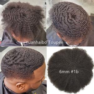Afro haar volle spitze toupee 4mm 6mm 8mm 10mm brasilianische jungfrau menschliches haar ersatz afro kinky curl männer perücke free shippinnng