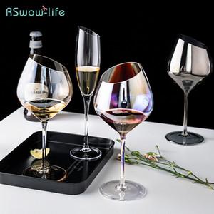 Avrupa Tarzı Eğimli Cam Büyük Tall Şampanya Kırmızı Şarap Bardağı Brendi Snifters Içme Eşyaları Bira Su Içecek Hediye Yetişkin