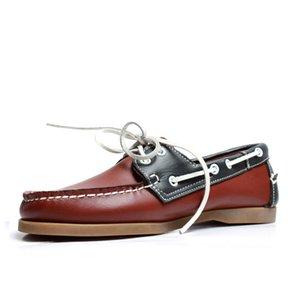 Dockside Männer-Schuh-Leder-Frühlings-Herbst-Männer Turnschuhe beiläufige Art und Weise italienische Bootsschuhmarken 5 # 21 / 20d50