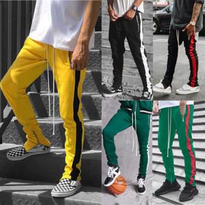 2019 Mens Zipper Pocket Anke Zip Track Pantaloni Long Dawstring Sweatpants Side Striped Patchwork Casual Retro Pantaloni uomo Pantaloni