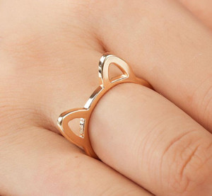 Womens 925 Silver Rings Simple Cute Cat Ear Design Finger Ring Black Gold Plated Cat Jewelry Gift