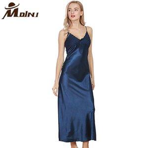 Mujeres largo camisones Sleepshirts Mujer del sueño Salón satén camisón de dormir Robe Negligee Noche Cami Vestido Pijama