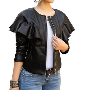 Moda Katı Kadın PU Ceket ve Coats Casual Slim Sahte Deri Ceket Ç Boyun Motosiklet Coat
