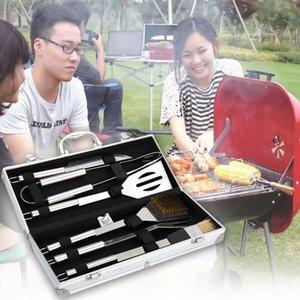 الجملة 6 قطع مجموعة الفولاذ المقاوم للصدأ أدوات الشواء الطبخ صندوق الفنية في الهواء الطلق BBQ أواني ملحقات كيت مع الألومنيوم DH1145 T03