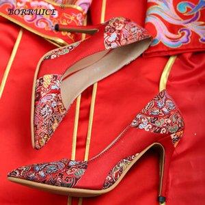 BORRUICE chinesischen Frauen Brautschuhe nationale Art High-heeled Pumpen Shallow Mouth Brautschuhe Cheongsam Rote Braut