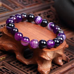 10MM Trendy Natural Stone Love Purple Bead Bracelet Vintage Charm Round Chain Beads Bracelets Jewelry For Women