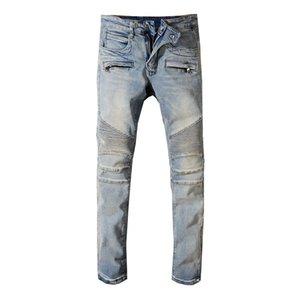 Mens Pieghe Skinny Light Blue jeans dello stilista Fold pantaloni Panelled Zipper Slim Fit Motociclista Hip Hop denim 1051