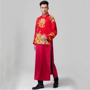 Oriental maschio Tang Suit Cinese matrimonio Robe sposo Cinese tradizionale costume da sposa lo sposo Gown Jacket + Robe