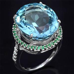 20200415 Nouveau anneau vert oeuf zircon bleu mer incrusté