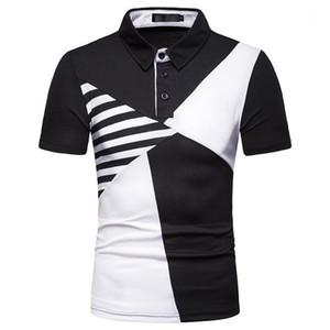 Tshirts Лоскутная способа цвета Tshirts отворотом шеи с коротким рукавом Повседневная одежда Футболки Мужские Щитовые Mens конструктора