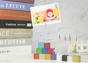 Hot Color Cube Stand Jacaré Fio Clip Clip Memo Titular do Cartão de Mesa de Casamento Lugar Lugar Favor Personalizado Presente Nota Clamp Festivo Evento