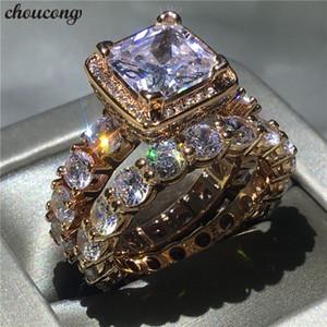 Choucong 2018 anillo de la vendimia 5A circón Cz Rose Gold Filled 925 plata anillo de boda de compromiso anillos para mujeres nupcial bijoux