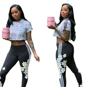 womens sportswear tracksuit pantsuit outfits 2 piece set sportsuit sexy crop top leggings new hot selling print women clothes klw4391