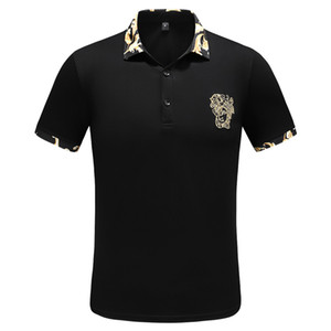 2019 beiläufige Polo-Shirt Sommer England Classic Short Sleeve Striped Polos Spitzenmarken-Männer Stickerei Pullover Revers Neck Cotton Tee