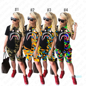 Las mujeres 2pcs de la ropa del camuflaje Boca del tiburón verano de la impresión pone en cortocircuito traje de manga corta camiseta Top tees Pantalones cortos del chándal traje de camuflaje 3XL E5402
