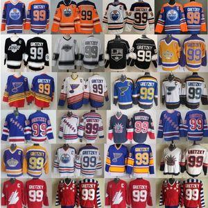 Homens 99 Wayne Gretzky Jerseys New York Rangers Hockey St Louis Blues Los Angeles Kings Edmonton Oilers Canadá Azul Branco Vintage Preto CCM