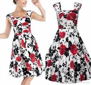 5XL Artı boyutu Yaz Bohemian Flora Baskılı Kadınlar Günlük Bölüm Elbiseler Spagehtti Kayış A Line Anne Elbise Ucuz vestidos de festa FS0009
