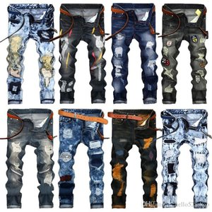 Fashion Vintage Mens Ripped Jeans Pants Slim Fit Distressed Hip Hop Denim COOL Male Novelty Streetwear Jean Trousers Hot Sale