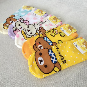 Cartoon Animal Rilakkuma Short Print Sock Striped Stitching Orange Bear Women Women's Underwear Underwear Cotton Nude Sock Funny Novelty Com