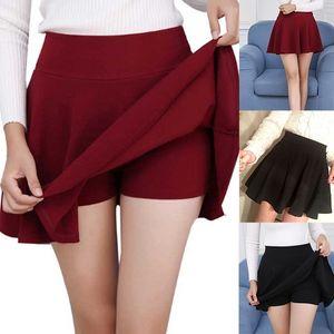 Summer Fashion Skirt Shorts Fake Two-piece Split Trousers High Waist Zip Solid Color Skirt Women's Shorts Harajuku