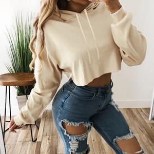 En Hoodie Kadınlar Katı Renk Navel Kısa Kapşonlu Streetwear Uzun Kollu Harajuku Hoodie Spor İnce Coat polerones kırpma mujer