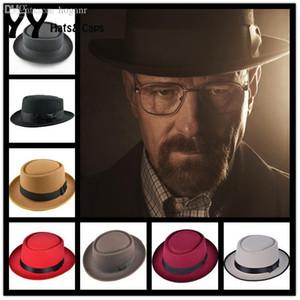 Tarte au porc en feutre de laine en gros-New Crushable Men Hat BREAKING BAD Hat Walter pour femmes Trilby Laine Fedora Cap Chapeu 6 couleurs