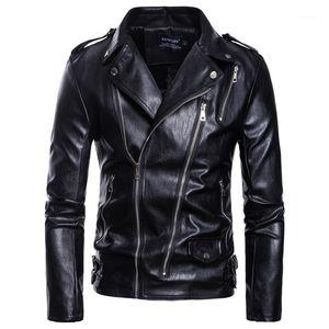 Tamaño más chaquetas color sólido cuello solapa de la chaqueta de la cremallera Outwear Multi Mens de la manera de la motocicleta del cuero del diseñador para hombre